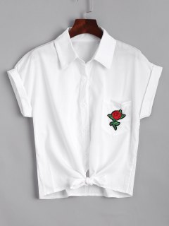 Short Floral Embroidered Bow Tied Shirt - White Xl