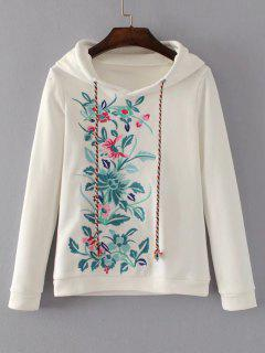 Cute Floral Embroidered Hoodie - White S