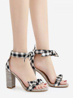 Bowknot Block Heel Plaid Pattern Sandals - Black 38
