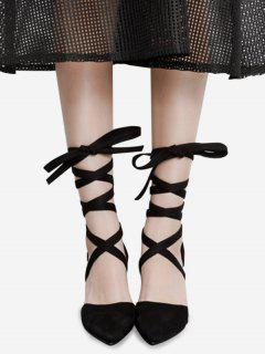 Pointed Toe Tie Up Block Pumps - Black 38