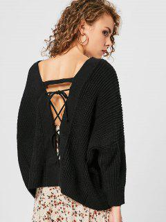 V Neck Back Lace Up Sweater - Black