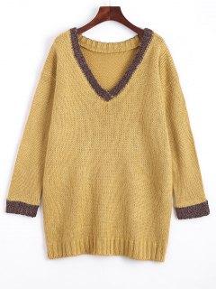 Sweater Col En V Lâche Contrastant - Jaune