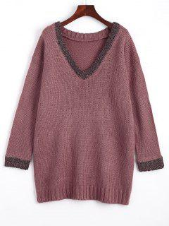 Loose Contrasting V Neck Sweater - Purple
