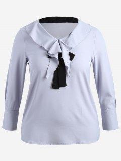Self-tie Ruffles Plus Size Top - Blue Gray 5xl