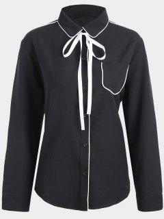 Plus Size Contrast Trim Shirt - Black 3xl