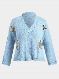 Chunky Distressed Embroidered Plus Size Cardigan - Blue