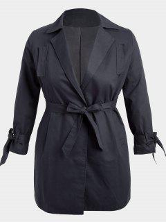 Plus Size Wrap Coat - Black 3xl