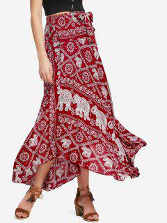 Self Tie Elephant Print Maxi Skirt - Deep Red