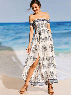 Printed Off Shoulder Smocked Maxi Beach Dress - White M