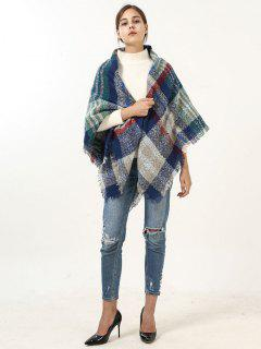 Fringed Brim Wide Plaid Wrap Scarf - Blue