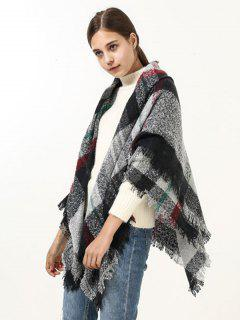 Fringed Brim Wide Plaid Wrap Scarf - Black