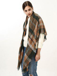 Fringed Brim Wide Plaid Wrap Scarf - Green