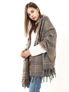 Checked Fringed Brim Wrap Scarf - Light Brown