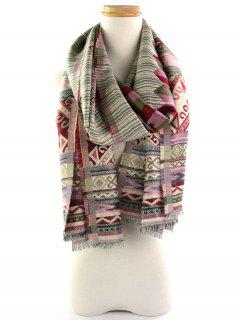 Ethnic Geometric Floral Pattern Fringed Brim Wrap Scarf - Red And Green