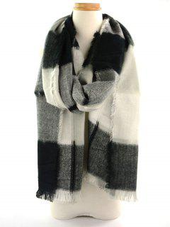 Plaid Knitted Broken Hole Design Fringed Brim Scarf - Black White