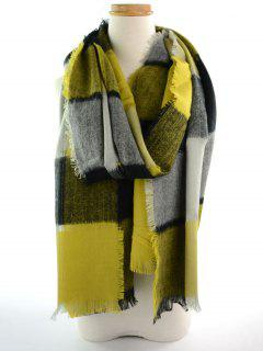 Plaid Knitted Broken Hole Design Fringed Brim Scarf - Yellow + Green