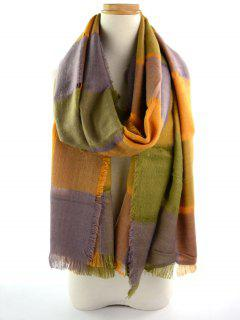 Plaid Knitted Broken Hole Design Fringed Brim Scarf - Grey And Orange