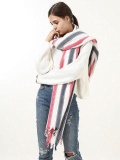 Striped Fringed Brim Long Wrap Scarf - Red
