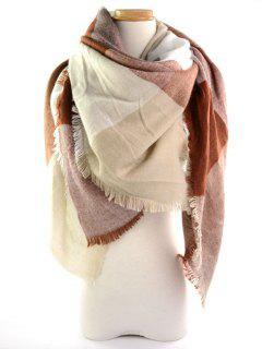 Fringed Brim Checked Long Wrap Scarf - Light Coffee