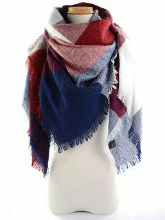 Fringed Brim Checked Long Wrap Scarf - Wine Red