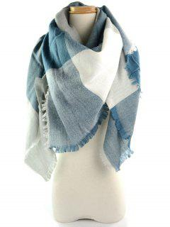 Fringed Brim Checked Long Wrap Scarf - Blue Gray