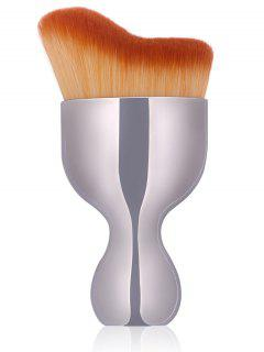 Oblate Wine Glass Shape Makeup Foundation Brush - Silver