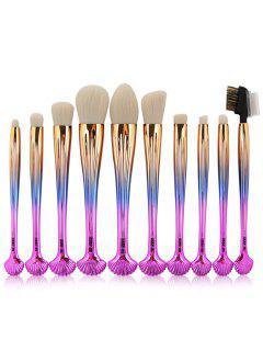 10Pcs Gradient Color Multifunction Ocean Shell Brushes Set - Gradual Pink