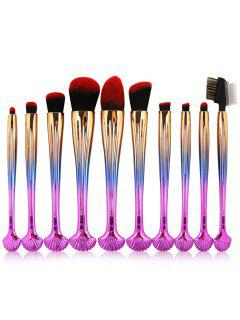 10Pcs Gradient Color Multifunction Ocean Shell Brushes Set - Dark Pink Ombre