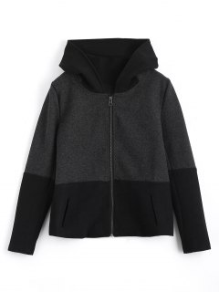 Zip Up Hooded Jacket With Fuzzy Ball - Black And Grey L