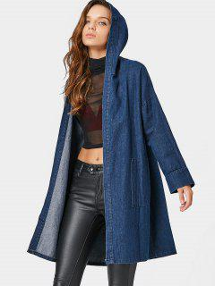 Drop Shoulder Pockets Hooded Denim Coat - Denim Blue