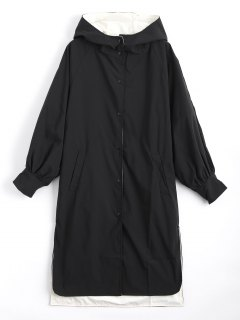Hooded Button Up Double Side Trench Coat - Black Xl