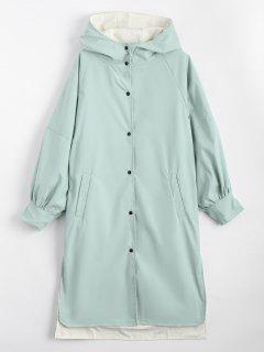 Hooded Button Up Double Side Trench Coat - Light Green S
