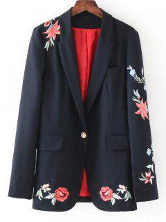 Blazer Bordado Rosa Con Botones - Negro S