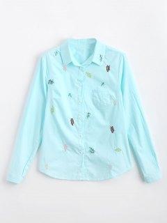 Chemise Brodée Boutonnière - Vert Menthe S