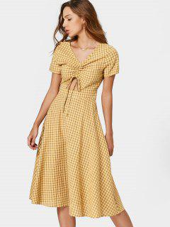 V Neck Cut Out Drawstring Checked Dress - Checked M