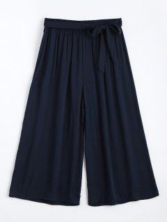 Capri High Waisted Belted Wide Leg Pants - Purplish Blue