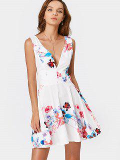 Floral Print Backless Plunge Dress - Floral L