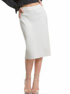 High Waisted Knitting Pencil Skirt - White