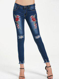 Ripped Floral Embroidered Frayed Hem Jeans - Blue S