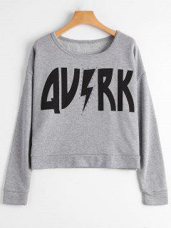 Cropped Sweatshirt With Graphic Print - Gray M
