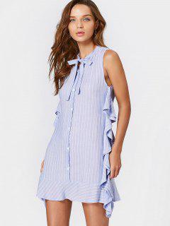 Ruffle Hem Striped Bow Tie Dress - Light Blue L