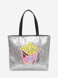 Chips Pattern Color Block Sequins Shoulder Bag - Pink