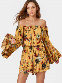 Off Shoulder Flare Sleeve Floral Print Romper - Floral Xl