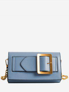 Buckle Strap Faux Leather Chain Crossbody Bag - Blue