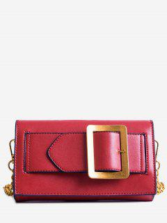 Buckle Strap Faux Leather Chain Crossbody Bag - Red