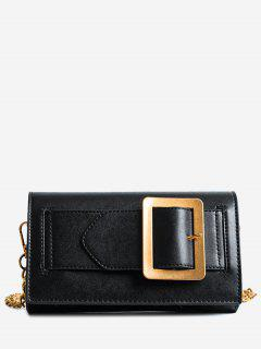 Buckle Strap Faux Leather Chain Crossbody Bag - Black
