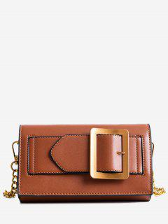 Buckle Strap Faux Leather Chain Crossbody Bag - Brown