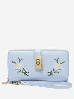 Faux Leather Chain Embroidered Wristlet Wallet - Light Blue