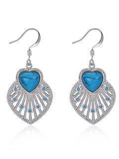 Bohemian Heart Drop Hook Earrings - Silver