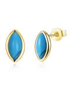 Bohemian Oval Tiny Stud Earrings - Golden